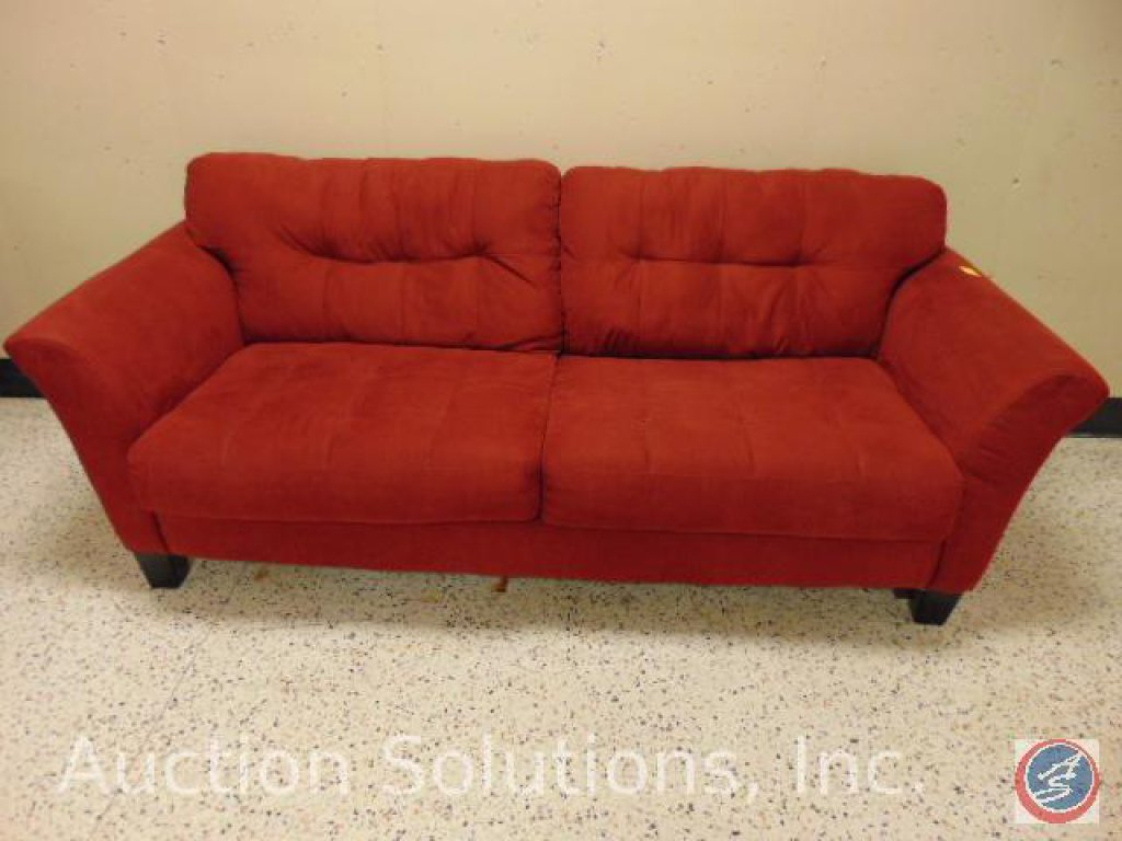 Red Two-Seat Sofa 90 x 36 x 39 in.