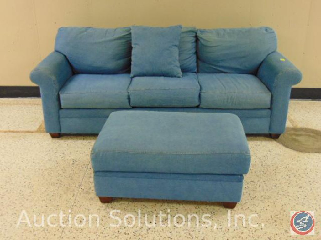Alan White Furniture 2 pc. Denim Set: Sofa 90 x 36 x 39; Ottoman 38 x 25 x 17 in. {SOLD 2x TIMES THE