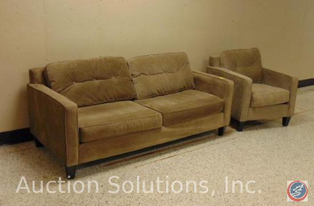 Beige Sofa 78 x 36 x 31 in.; Chair 32 x 36 x 31 in. {SOLD 2x TIMES THE MONEY}