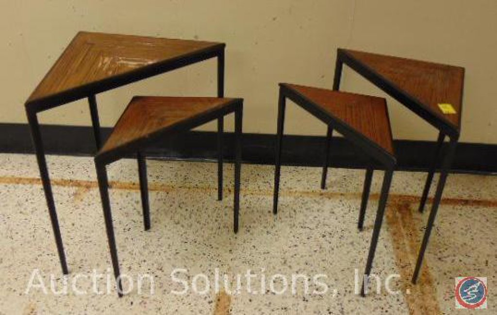 [4] Corner Accent Tables: [2] Short 20.25 x 8.75 x 22 in.; [2] Tall 26.25 x 14.75 x 26 in. {SOLD 2x