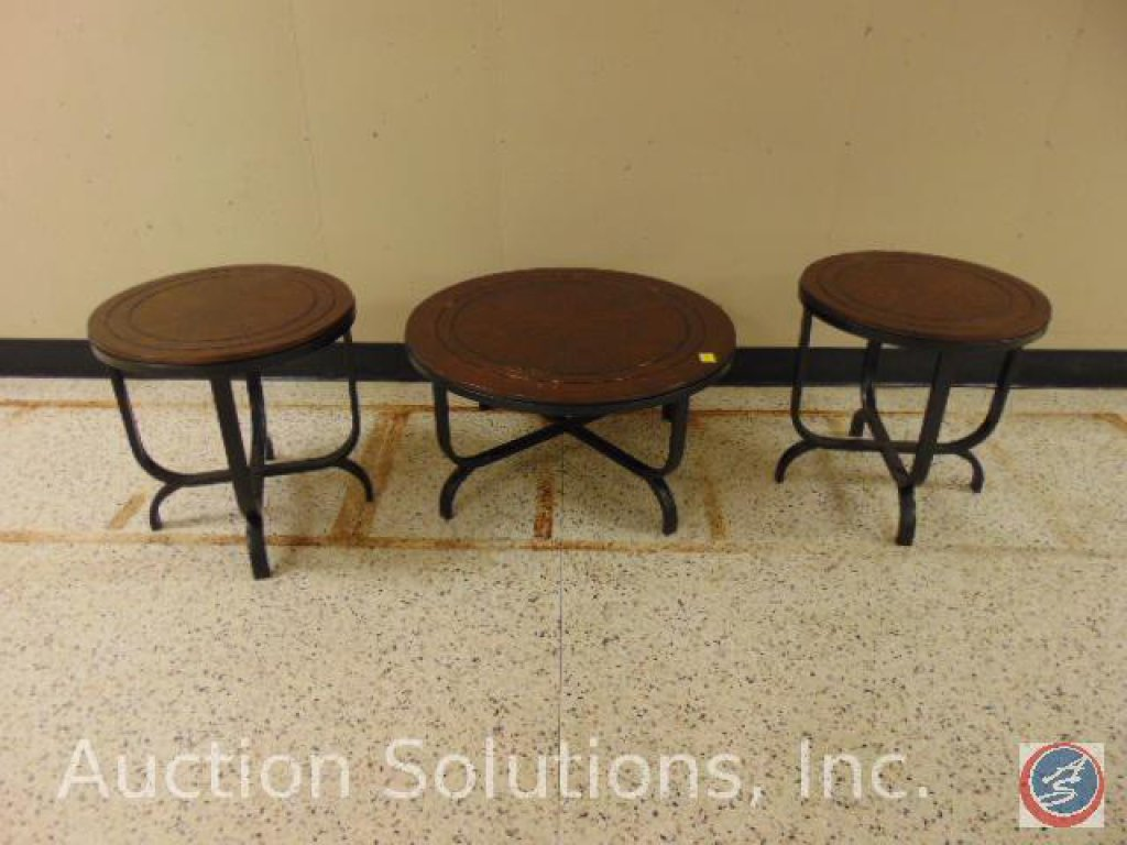 [3] Round Wood Occasional Tables [2] Small: 24 x 24; Large 36 x 18 in. {SOLD 3x TIMES THE MONEY}
