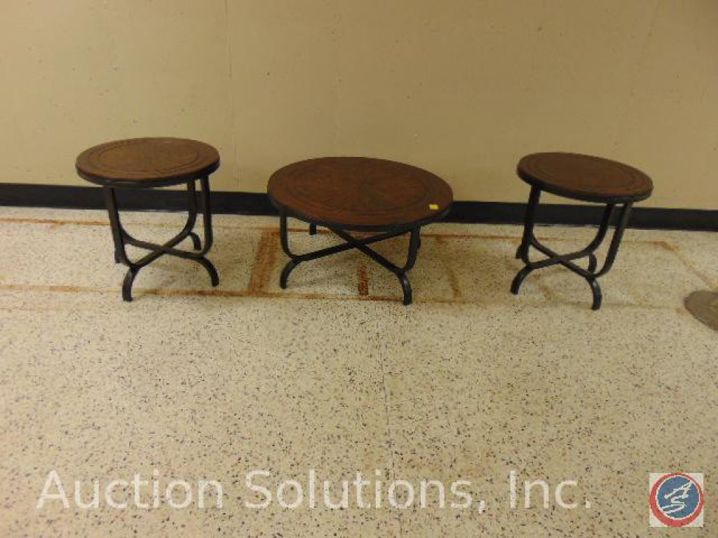 [3] Round Wood Occasional Tables [2] Small 24 x 24; Large 36 x 18 in. {SOLD 3x TIMES THE MONEY}
