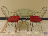 3 pc. Cafe/Patio Set: Glass Top Table and [2] Chairs w/ Seat Cushions 30 x 29 in.