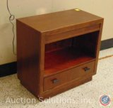 Klausner International Wood Night Stand w/ Cubby Light and Bottom Drawer 30 x 16 x 28.5 in.
