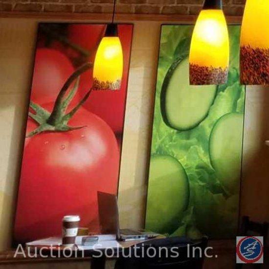 (6) artwork panels depicting food, measuring 50 in X 23 in