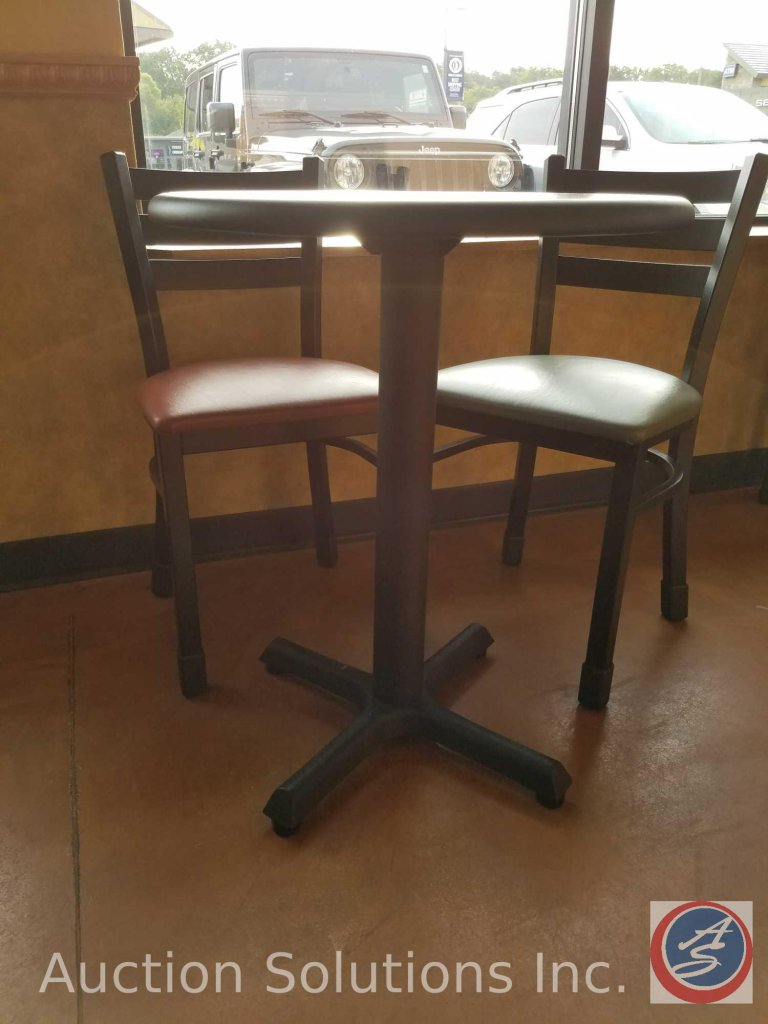 (2) small round single pedestal tables, measuring 30 in tall and 2 foot in diameter ((SOLD TIMES THE
