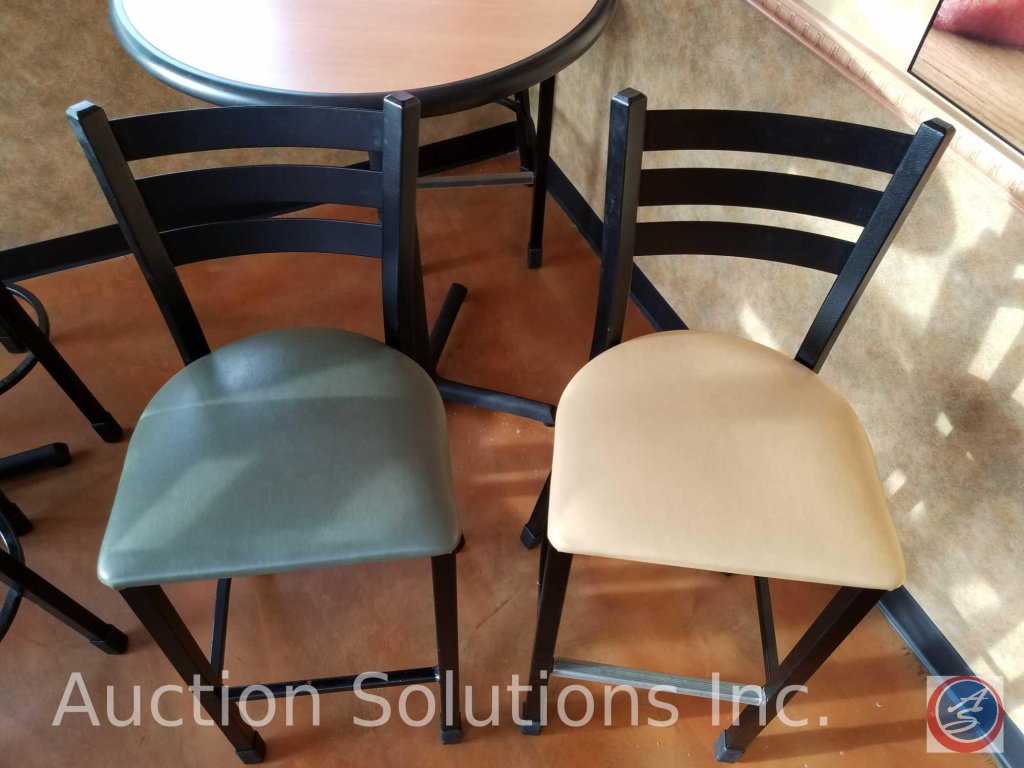 (3) metal upholstered bar stools ((SOLD TIMES THE MONEY))