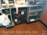 Front Counter, metal with shelves measuring 5 ft X 3 ft X 34