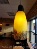 (7) hanging lights, hand blown glass. Shade measures 6 inches in diameter, and 15 in long ((SOLD