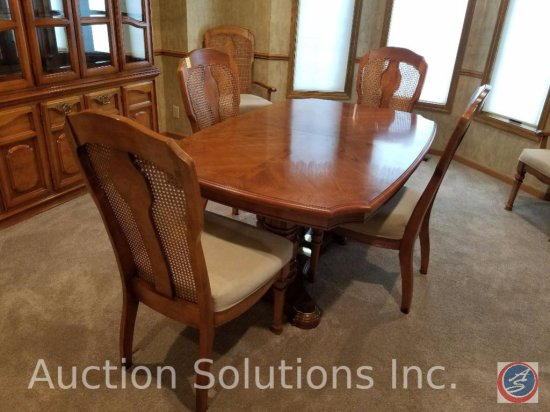 """Wood Dining Table 63.5"""" x 42' x 29"""" w/ [2] 1' Leaves; and [6] Padded Chairs w/ Cane Backs (2 Captain"""