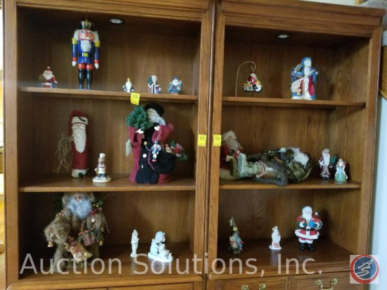 Assorted Santa Figurines (Contents of Bookshelves Only)