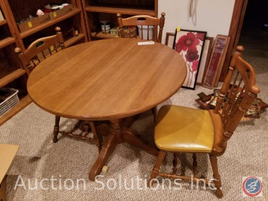 "Vintage Dinaire Round Wood Kitchen Table 41.5"" Diameter 29.5"" Tall, Includes a 10"" Leaf and [4]"