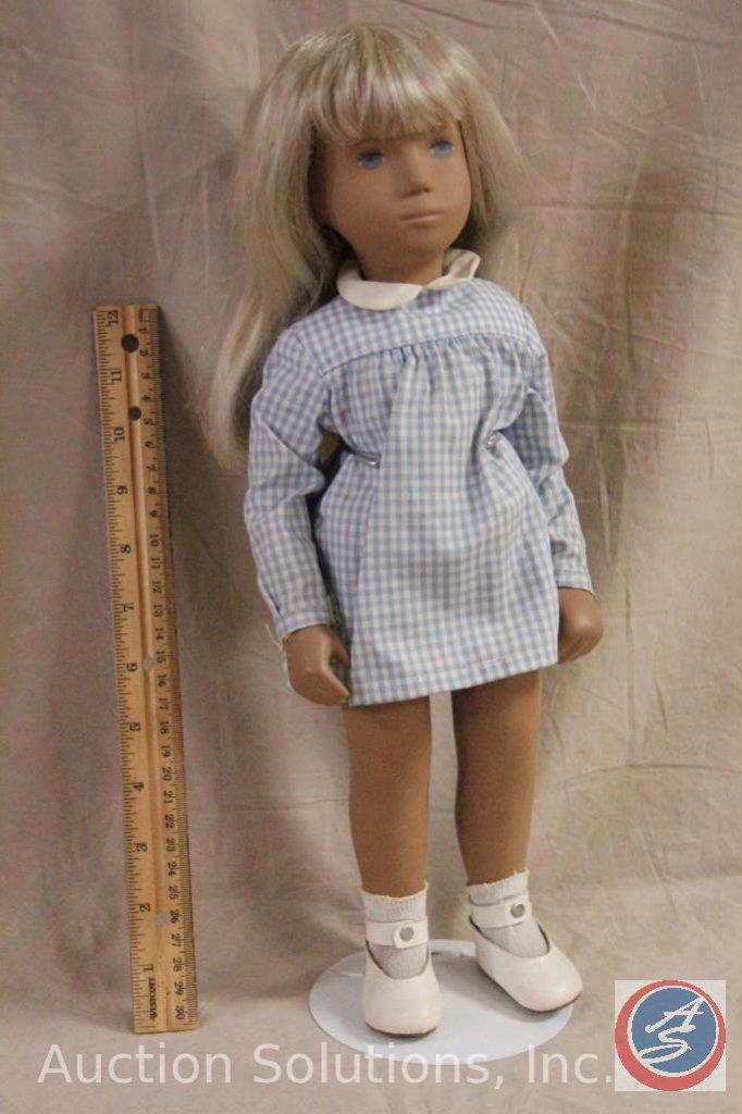 "SASHA DOLL 16"" tall, blond hair, painted blue eyes, original blue checked dress. Sasha dolls were"