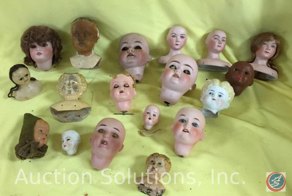 BOX OF DOLL HEADS: