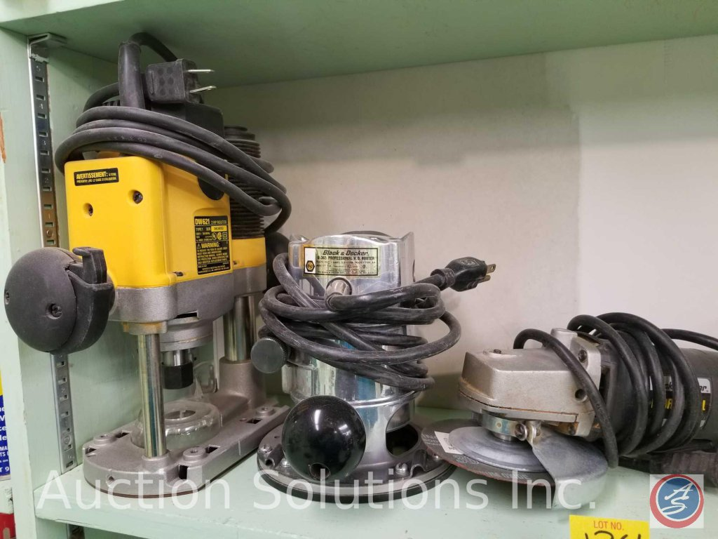 contents of shelf to include Dewalt 2HP router, Black and Decker U-365 professional HD router, Black