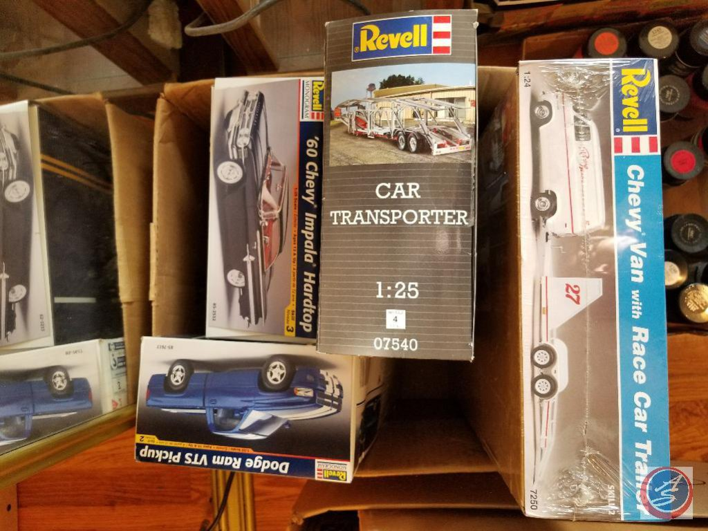 Unopened Chevy van with racecar trailer model kit - Unassembled Revell car transporter - Unassembled