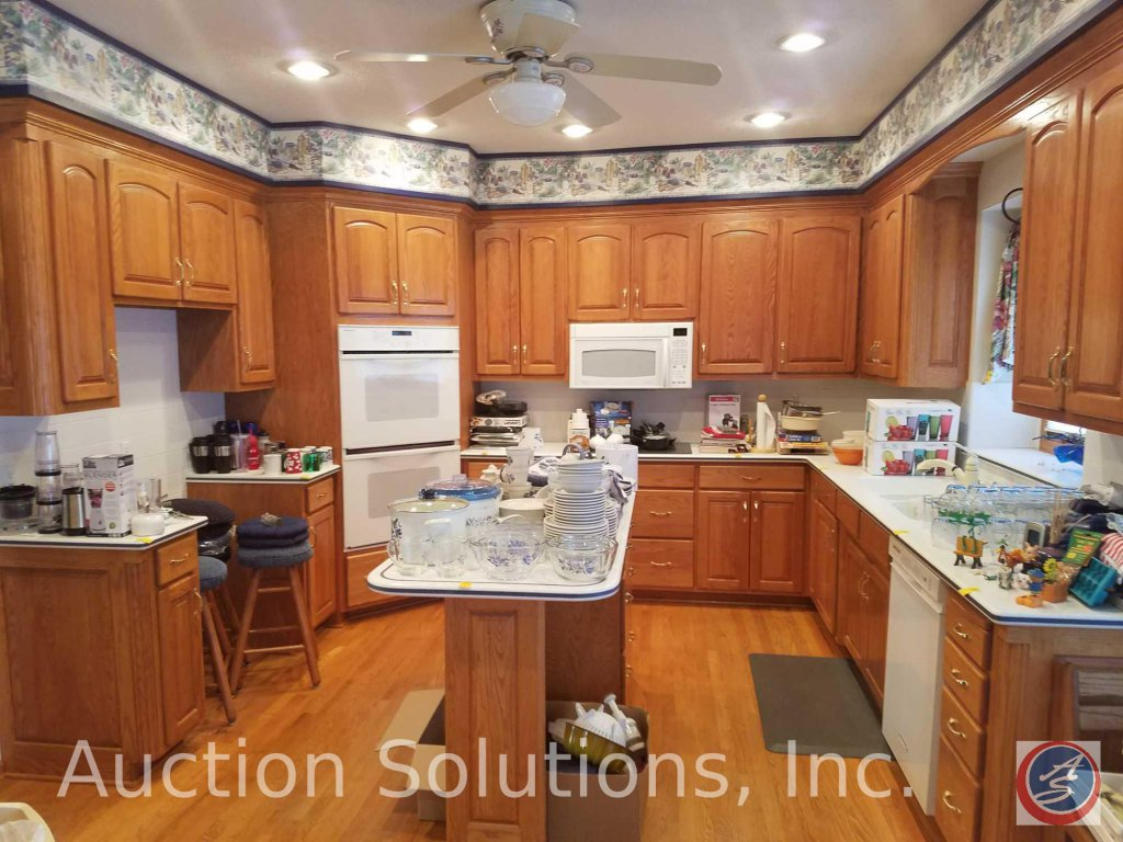 All Oak Kitchen Cabinets including Shelving/Racks; 3-Well Sink w/ Moen Faucet; EverGrind E101