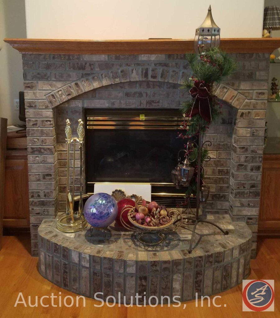 Stone Fireplace Surround w/ Wood Mantel including Gas Fireplace Pit w/ Heat-N-Glo Remote {Contents