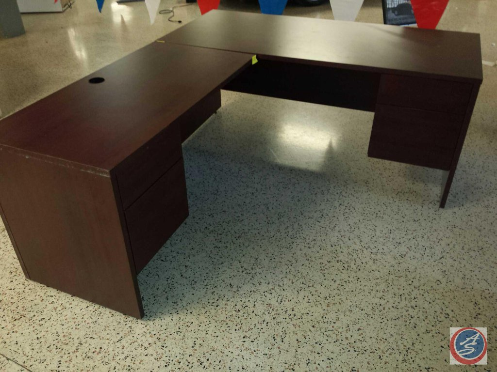 Cherry wood L-shaped desk w/ [4] drawers total, measuring 4ftx2ftx2.5ft and 5.5ftx2.5ftx2.5ft
