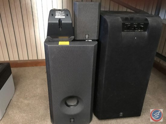 4- piece Yamaha surround system sub woofer (Model # YST-SW90), speaker (Model # SW-P201), two small