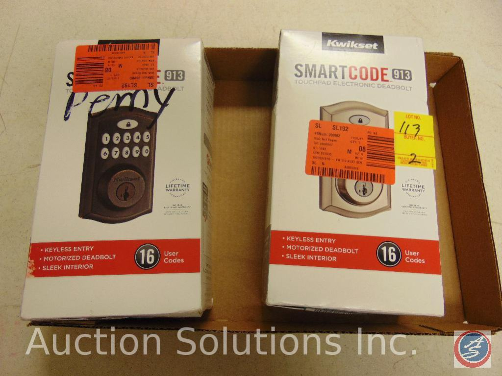 (2) Kwikset smart code #913 touchless electronic deadbolts, in original packaging