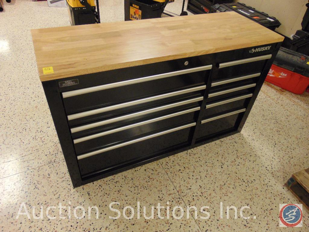 Husky wood topped ball bearing tool box, (10) drawers