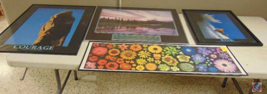 (4) assorted size framed wall prints
