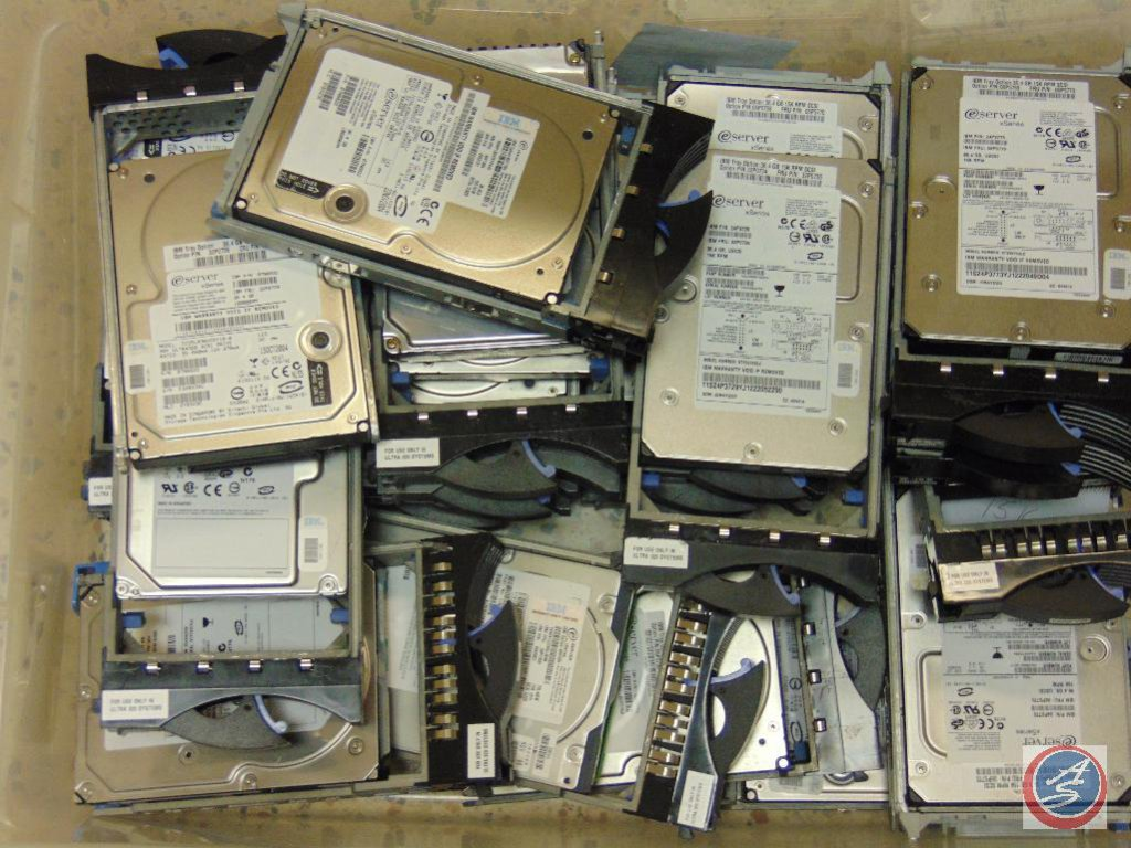 box of assorted e server xSeries computer hard drives (model #IC35L036UCDY10-0)
