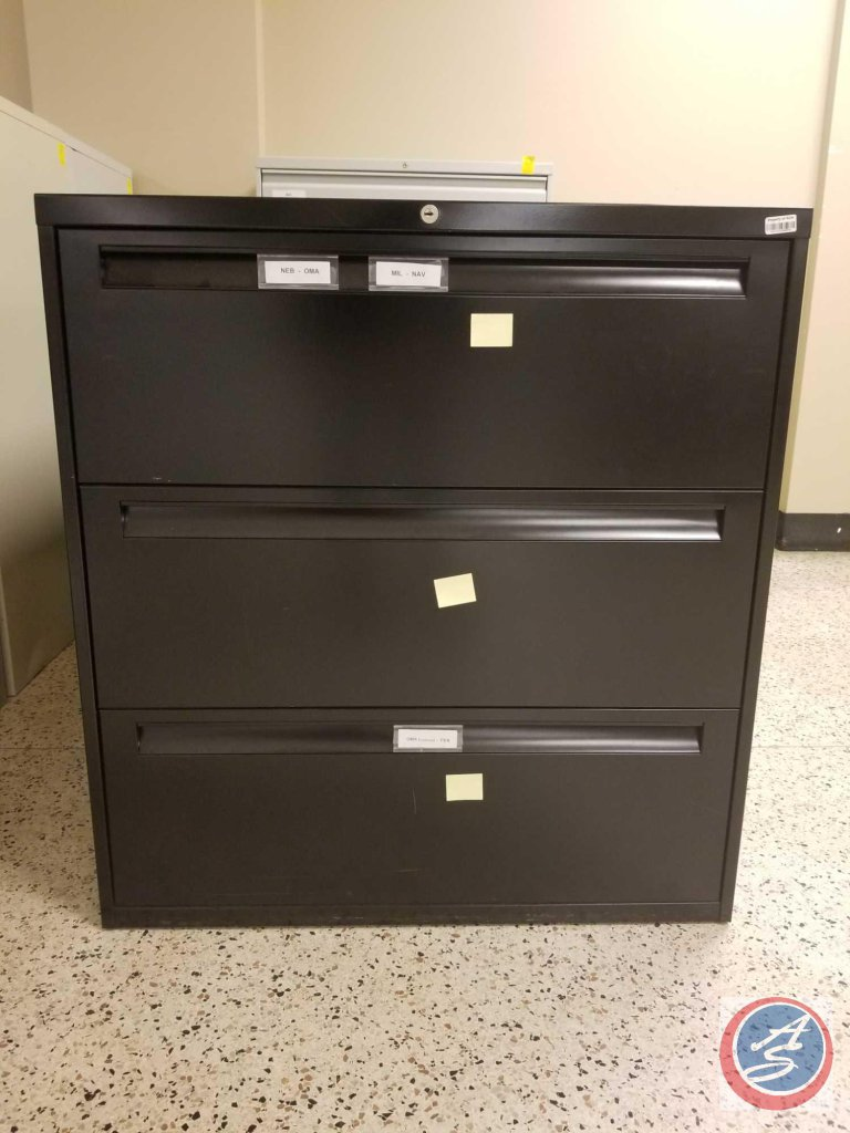 Black metal filing cabinet w/ [3] drawers measuring 3ftx3.5ftx1.5 {STOCK PHOTO USED}