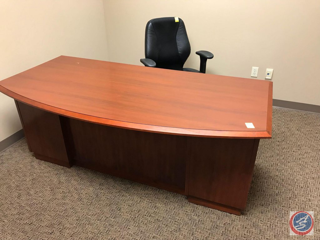Cherry Finish Office Desk {SOME FLAWS AND SCRATCHES AS SHOWN IN PICTURES}