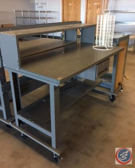 Uline Two-Tier Steel Work Table on Casters w/ Drawer and Bottom Shelf (NO Key)