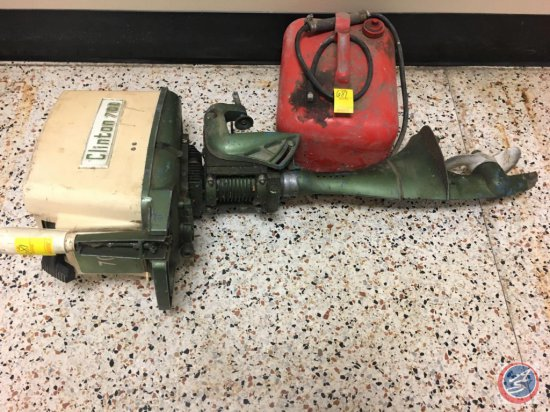 Vintage Clinton 700 outboard motor and gas can