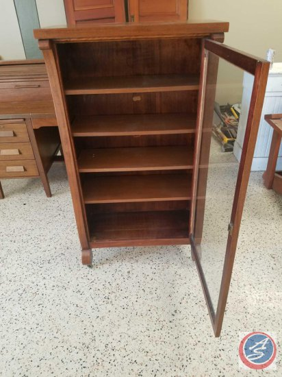 """Antique 5 shelf wood cabinet with glass door on casters (no key)- 53.5"""" tall x 30.5"""" wide x 14"""" deep"""