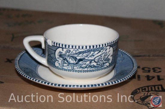 (7) Boxes Containing Currier and Ives Dishware