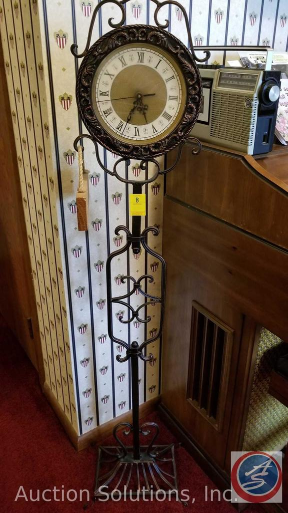 Wrought Iron Standing Floor Clock W Wooden Sign Measuring 53
