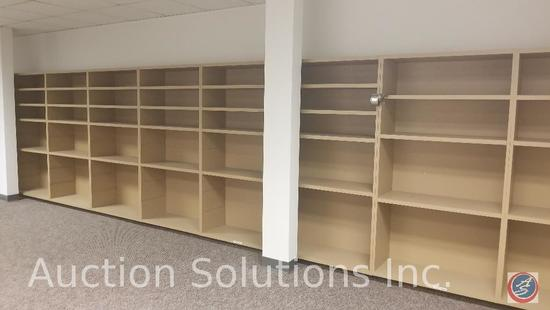 11 sections of 4 foot shelving, two cubicles manufactured by ZAPF office furniture. 3 office chairs,