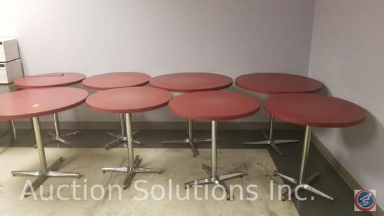 8 round tables, 26 stack chairs