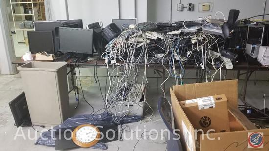 Contents of entire room, including computers, keyboards, wiring, shelving, tables, electronics, and