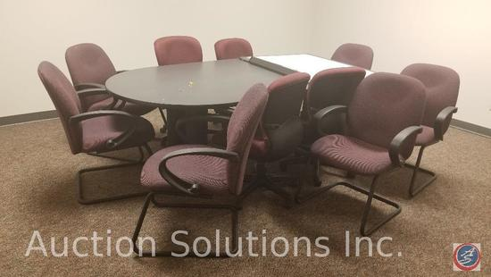 8 foot conference room table, 4 rolling executive chairs six arm chairs and a dry erase board