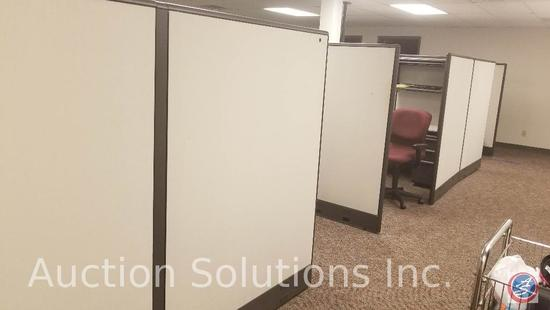 Eight sections of Zapfs office cubes, two drawer lateral files, three drawer rolling files all the