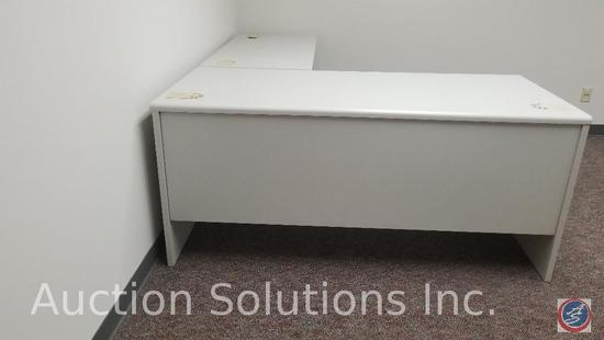 Two 5 foot L-shaped desks with 4 foot return, one storage cabinet and one three drawer Hon lateral