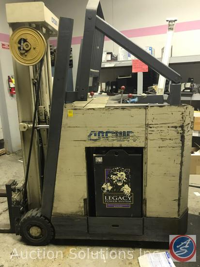 Crown model 2400 lb. Stand up Forklift model 30RCTT as 3636 V with side shift 2660 hours and a Exide