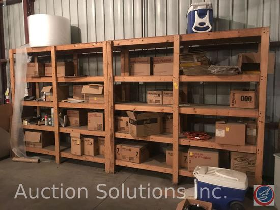 Assorted mailing supplies and wooden shelf