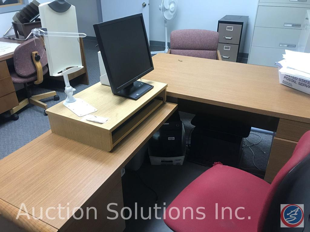Office contents including desk, credenza, 2 lateral file cabinets, reception and office chairs an