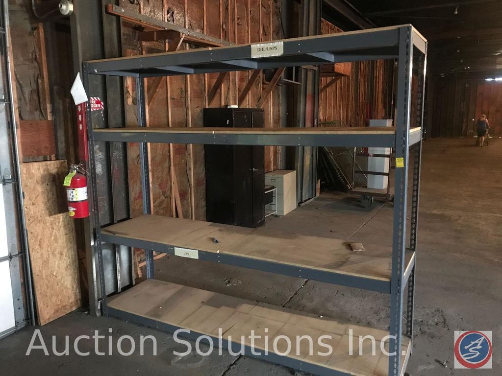 (4) tier metal shelving unit with wood shelves