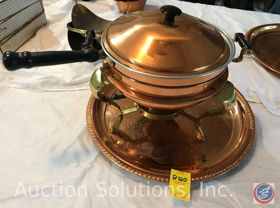 Copper Chafer, pan with handle, lid, Sterno pot, and large tray