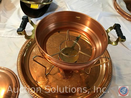 Copper chafer, glass insert bowl, lid, Sterno pot, large copper tray