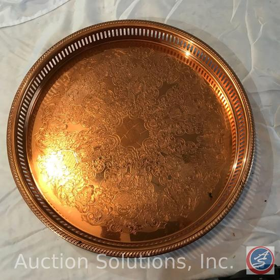 Oval Copper serving tray, round drink server, copper