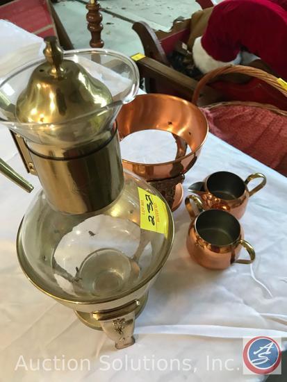 Brass Coffee Warmer, Copper Craft Coffee Warmer, Coffee Warmer Parts, Creamer and Sugar, CopperCraft