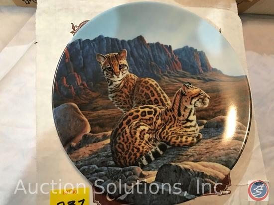 [7] Edwin M Knowles Collector Plates in Original Boxes - 'Great Cats of America' Series: The